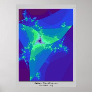 Blue Star Dancer (grey) Poster