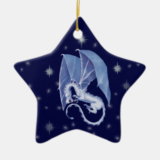 Blue Star Dragon Double-Sided Star Ceramic Christmas Ornament