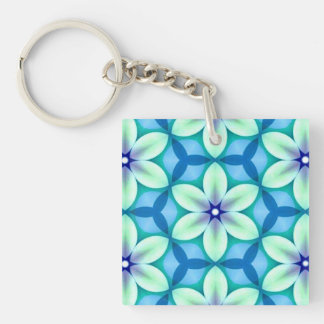 Blue Star Flower Green Double-Sided Square Acrylic Keychain