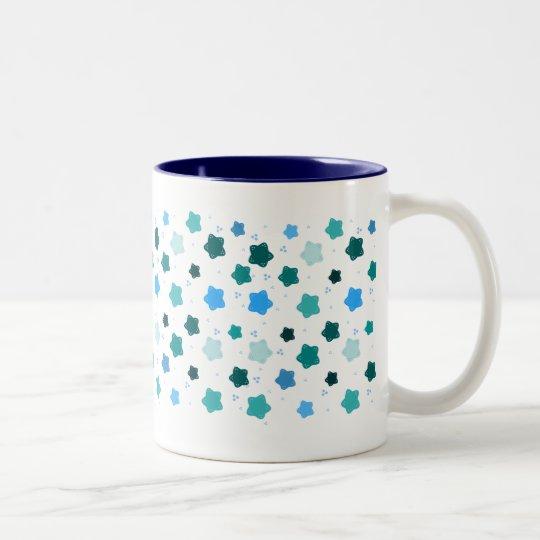 Blue Star Flower Pattern Two-Tone Coffee Mug