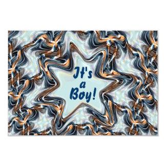 Blue Star Fractal BABY BOY Birth Announcement