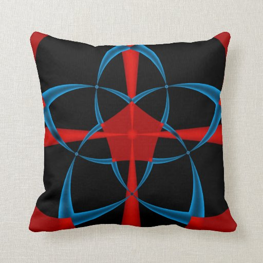 Blue Star Fractal Throw Pillow