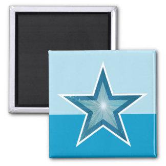 Blue Star fridge magnet square two tone blue