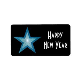 Blue Star Happy New Year medium large black Label