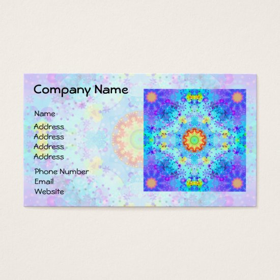 Blue Star Hippy Mandala Patterned Business Card