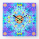 Blue Star Hippy Mandala Patterned Square Wallclocks