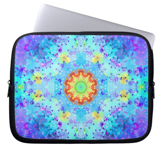 Blue Star Hippy Mandala Patterned Computer Sleeve