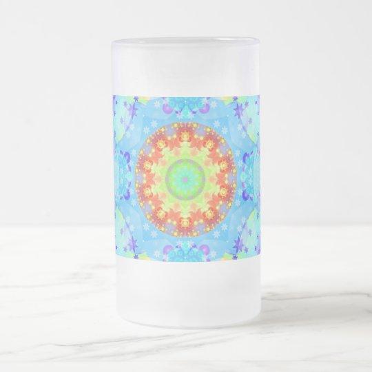 Blue Star Hippy Mandala Patterned Frosted Glass Beer Mug