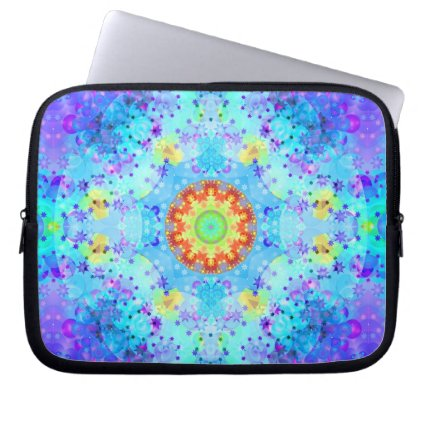 Blue Star Hippy Mandala Patterned Laptop Computer Sleeves