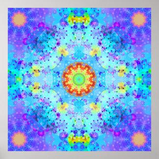 Blue Star Hippy Mandala Patterned Poster