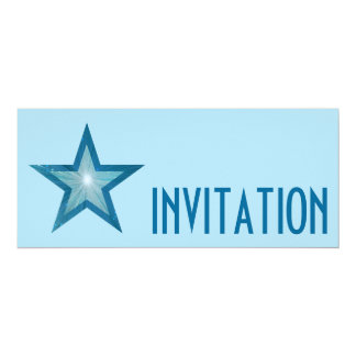Blue Star 'INVITATION' pale blue long Card