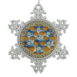 Blue Star Lace Art Snowflake Ornament
