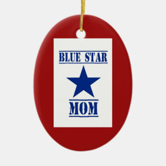 Blue Star Mom Military Double-Sided Oval Ceramic Christmas Ornament