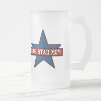 Blue Star Mom Military Frosted Glass Beer Mug
