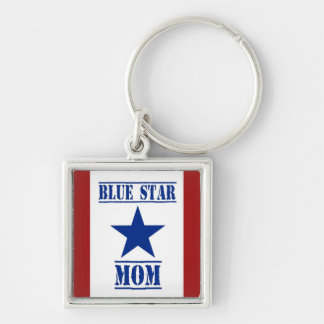 Blue Star Mom Military Silver-Colored Square Keychain