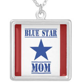 Blue Star Mom Military Square Pendant Necklace