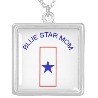 Blue Star Mom Square Pendant Necklace