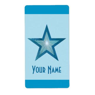 Blue Star 'Name' stripe label pale blue