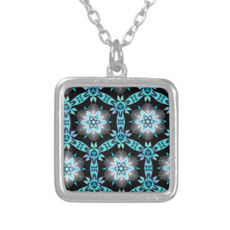 blue star square pendant necklace