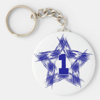 blue star number one basic round button keychain