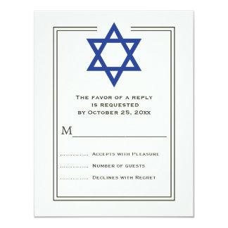 Blue Star of David Bar Mitzvah reply card