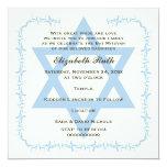 Blue Star of David damask Bat Mitzvah invitation