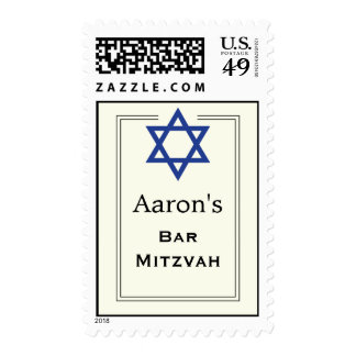 Blue Star of David double border Bar Mitzvah Postage Stamps
