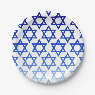 Blue Star of David Happy Hanukkah Jewish Holiday Paper Plate