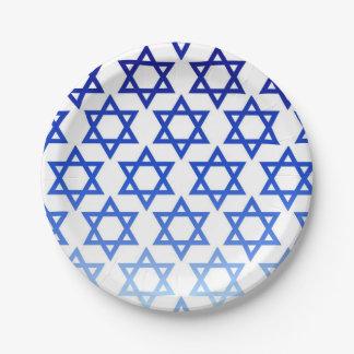 Blue Star of David Happy Hanukkah Jewish Holiday Paper Plate