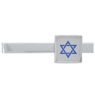 Blue Star of David on Silver Gray Silver Finish Tie Clip