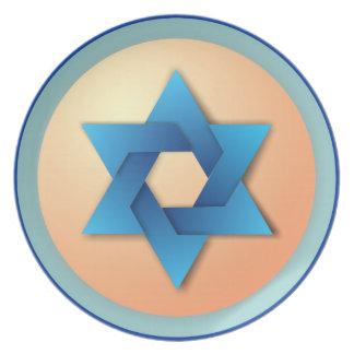 Blue Star of David on Yellow Decorative Plate