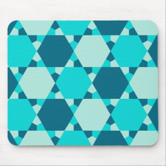 Blue Star of David Optical Illusion Pattern Mouse Pad