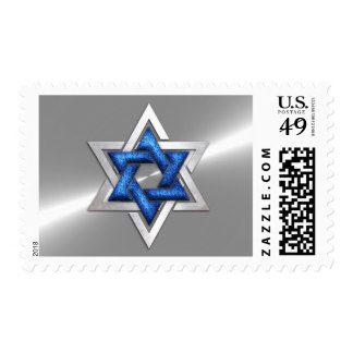 Blue Star of David Stainless Steel Postage