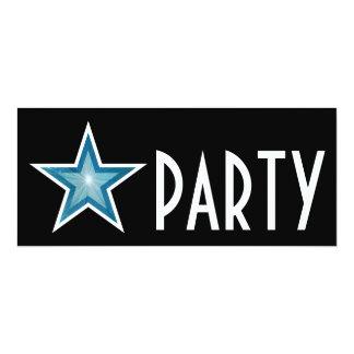Blue Star 'PARTY' invitation black long
