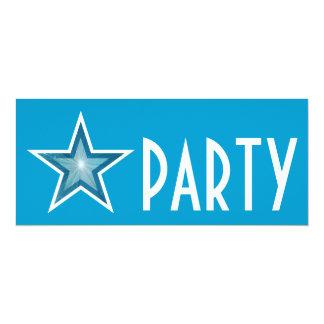 Blue Star 'PARTY' invitation blue long