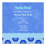 Blue Star Pattern and Lace Boy Baby Shower V04 Personalized Announcements