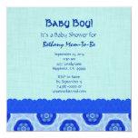 Blue Star Pattern and Lace Boy Baby Shower V06 Custom Invites