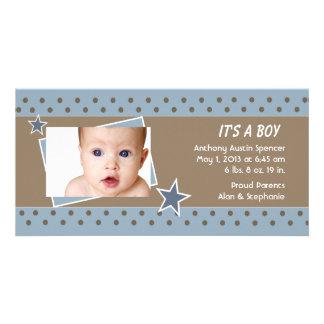 Blue Star Photo Birth Announcement