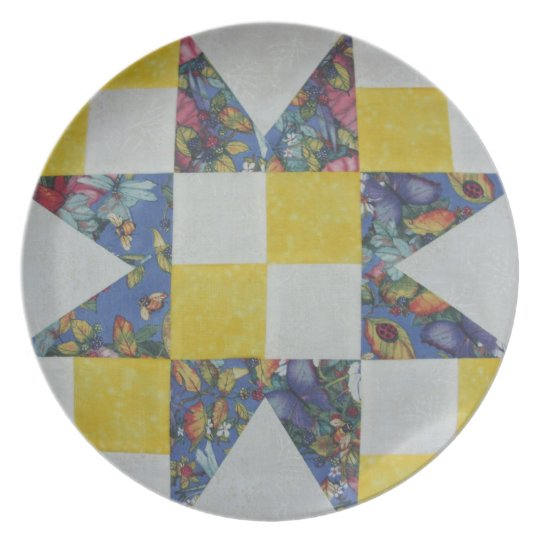 Blue Star Quilter's Plate