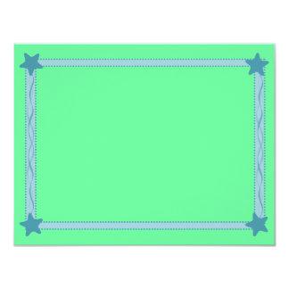 Blue Star Ribbon Border on Green Background Plain Card