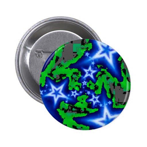 Blue Star Shine Pinback Buttons