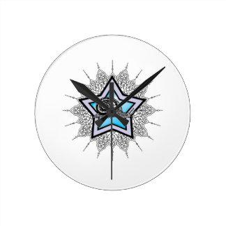 blue star snail art round clock