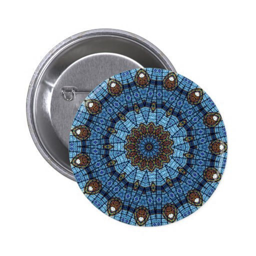 Blue Star Stained Glass Pinback Button Pin