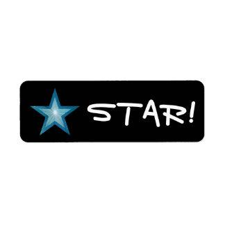 "Blue Star ""STAR!"" label small black"
