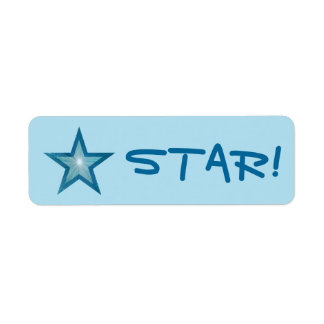 """Blue Star """"STAR!"""" label small pale blue"""
