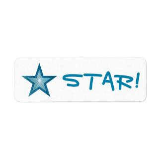 "Blue Star ""STAR!"" label small white"