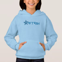 Blue Star 'STAR!' small star front  & back blue Hoodie