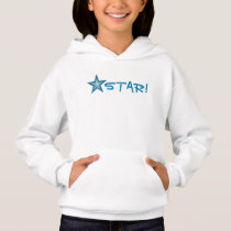 Blue Star 'STAR!' small star front  & back Hoodie