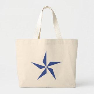 blue star symbol large tote bag