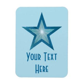Blue Star 'Text' vertical pale blue flexible Rectangular Photo Magnet